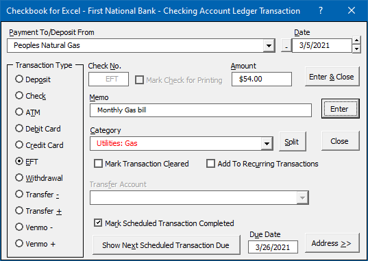 Transaction Entry
